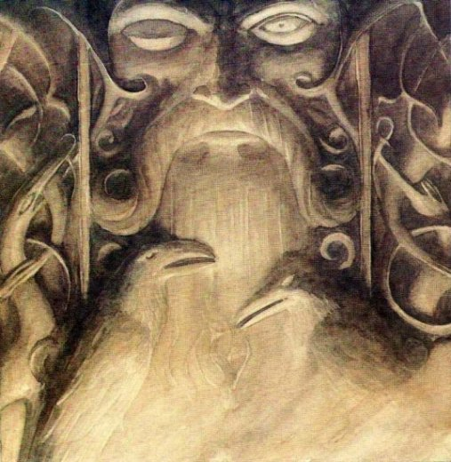 Odin with Muninn & Huginn, Alan Lee